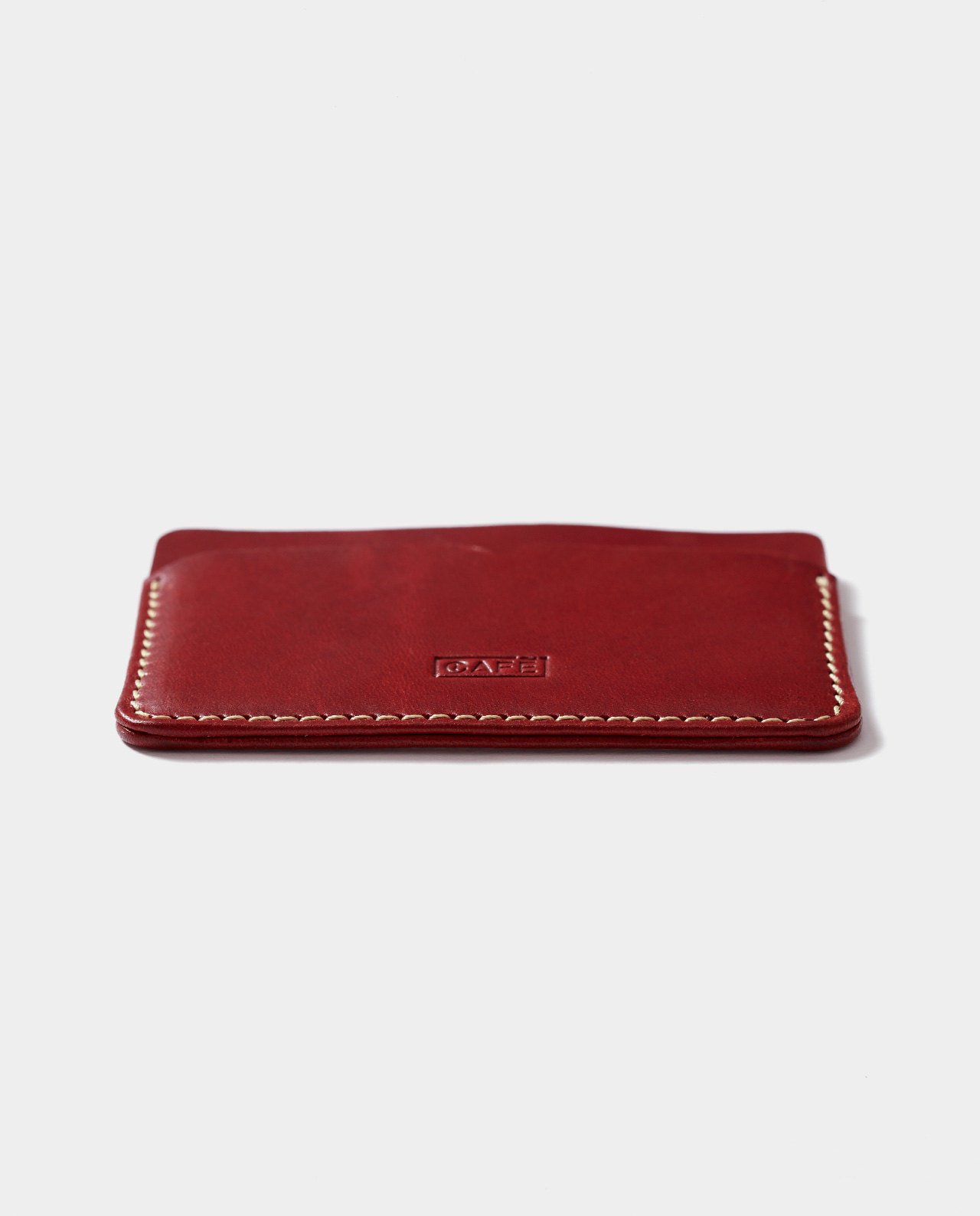 leather card holder red for cards and bills