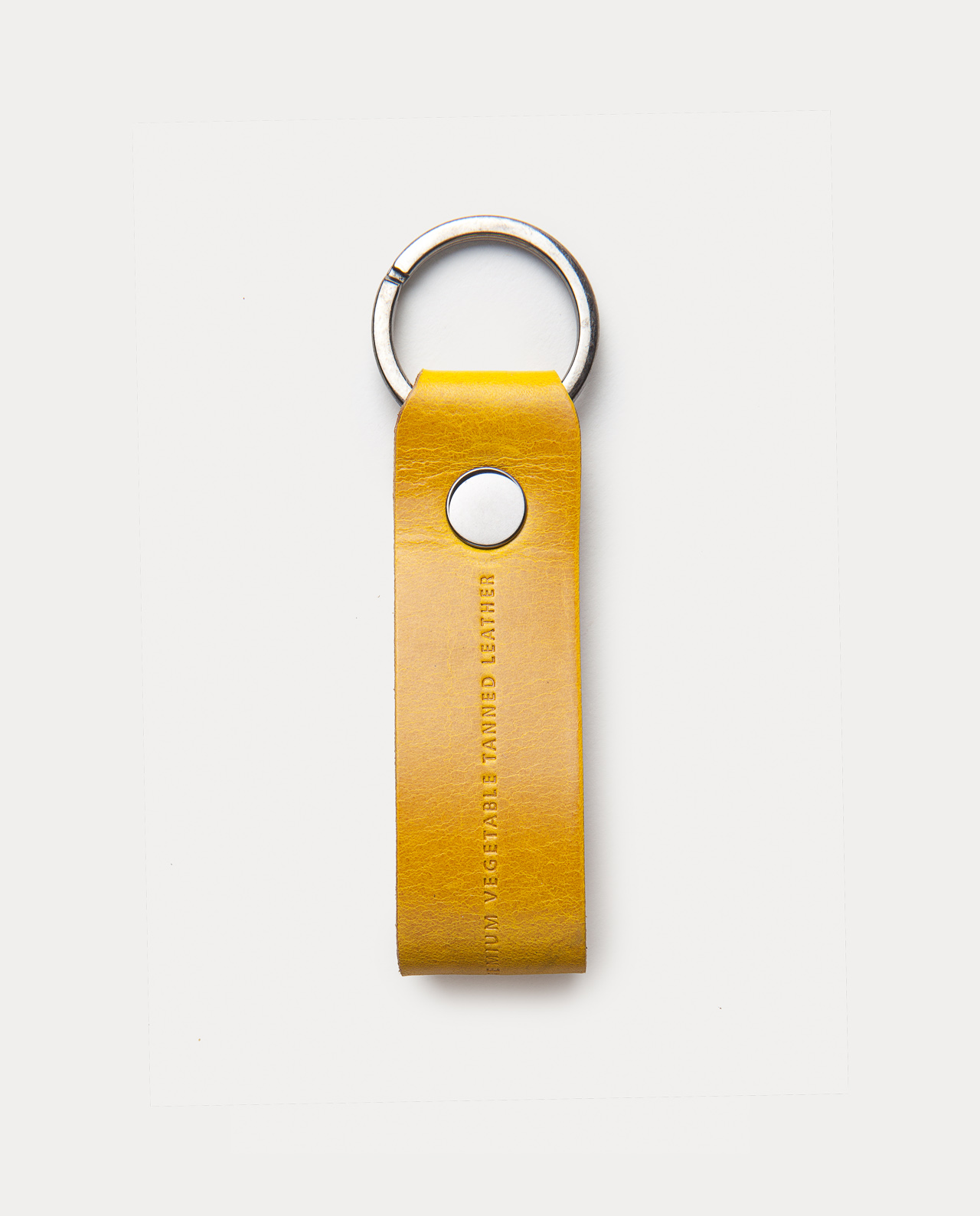 leather keychain yellow handcrafted in Spain