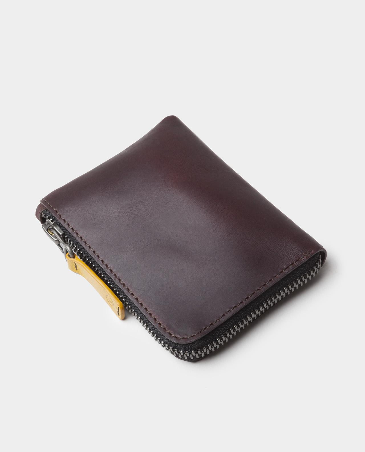 leather zip wallet black